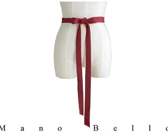 Leather Ribbon Bow Belt - Red Wedding Dress Belt - Deep Red -Leather Strap, Bridesmaid gifts - size Small Medium Large XLarge