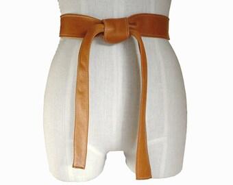 Classic leather sash - Honey tan leather belt - Soft Leather Belt - Leather Coat Belt - Burnt Honey Tan - Leather Tie Belt  XXsmall - Xsmall