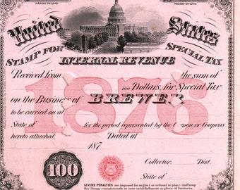 Antique Brewer Business License Original 1876 Beer Ale Whiskey Keg Tax Stamp Civil War Distillery Brewery Moonshine Home Bar Decor