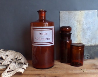 Old French pharmacy large apothecary drug glass jar  Brown glass