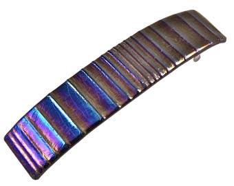 "Tiffany Barrette - 3.5"" - Iridescent Metallic Pewter Black Striped Lines Texture Fused Glass"