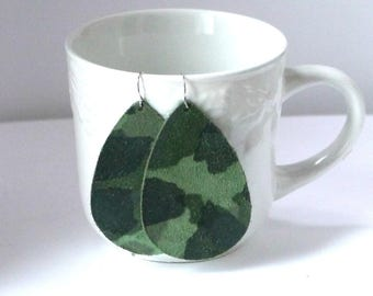 Green Camo Camouflage Suede Leather Earrings