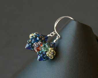 Hand beaded Swarovski crystal earrings. Summer flower garden party earrings. Beaded flower earrings.