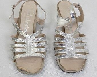 Original Vintage 1980s Silver heeled Slingback Sandals UK Size 6