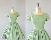 15% OFF SALE Vintage 50s Dress/ 1950s Cotton Dress/ Soft Green Cotton Dress w/ Pintucking and Bow M/L