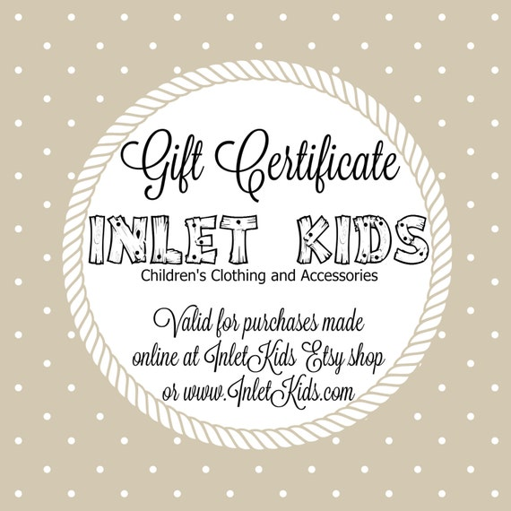 Inlet Kids Gift Certificate for use for InletKids Etsy Shop
