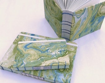 Small green marbled journal, A6, Coptic stitch, woven spine, notebook