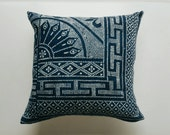 Chinese Batik Pillow Cover - Indigo Batik Bohemian Pillow - Vintage Chinese Textile - Boho Pillows