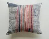 Indigo Vintage Hmong Pillow Cover - Rustic Bohemian Decor - Neon Batik Pillow by Habitation Boheme
