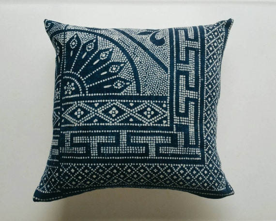 Chinese Batik Pillow Cover Indigo Batik Bohemian Pillow