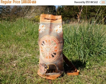 Spring SALE Leather Embroidered Tribal Indian Backpack Purse