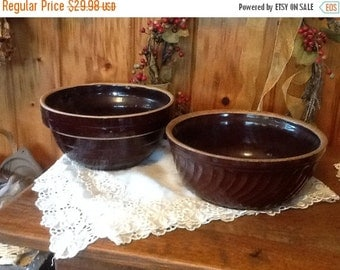 SaLe Antique Stoneware Mixing Bowls Primitive 1800's Rustic Country Kitchen Choice