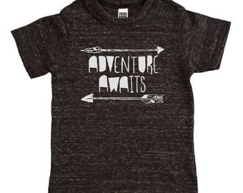 Adventure Awaits Arrows Kids Shirt - Boys or Girs Outdoors Fun Kids Arrow Graphic Tee - Baby and Toddler - Kids Clothes - Childrens Clothing