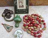 RESERVED for Lisa-Pink and Green Assemblage Treasures / Vintage Beads, Little Girl, Door Hardware, Metal Trinkets / Mixed Metals  (I6)
