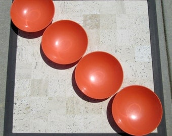 Small Vintage Orange Melmac Bowls - Set of Four Orange Plastic Small Bowls - Super for Your Camper, Trailer, or Glamping