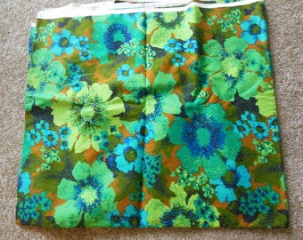 Bright Retro Floral Print Upholstery Fabric