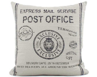 Post Office Throw Pillow Cover, Choose Your Size, Old World Decor Pillow, Rustic Pillow, Indigo Pillow, Word Pillow Cover, Post + Deliver