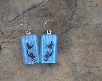 Blue Mermaid  Earrings Fused Dichroic Glass Earrings Mermaid Jewelry