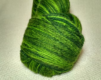 Kauni Wool Yarn Effektgarn 8/2, Self-Striping, Fingering / Sock, Dark Green and Bright Green 2ply