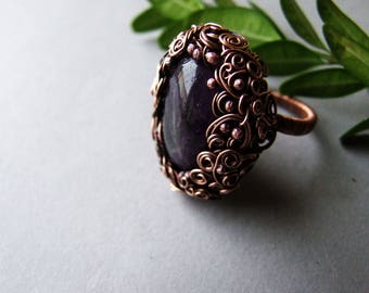 Raw Amethyst Ring, Amethyst Jewelry, Bohemian, Gift for Her, Woodland Amethyst Crystal Ring