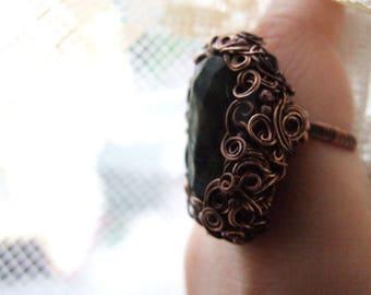 Big Gemstone Ring, Statement Elvish Ring, Wire Wrapped Copper Ring, Big Woodland Gemstone Ring