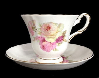 Royal Tuscan, Four Leaf Clover, Tea Cup and Saucer, Vintage Floral Teacups, English Bone China 13882