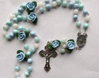 March Birthstone Rosary-Aqua, handmade, clay