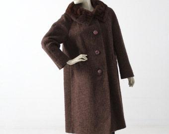 vintage winter swing coat, 1960s Betty Rose wool coat with fur collar