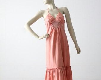 SALE Young Edwardian halter dress, vintage 1970s hippie sundress