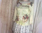 Shabby Paris Top, french script shabby cottage tee shirt, altered clothing, vintage tattered lace LARGE
