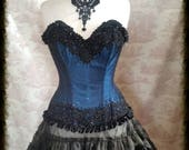 Beaded Overbust Corset  24 inch waist Corset  Gothic Burlesque. Ready To Ship.