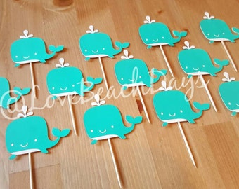 Whale Cupcake Toppers, Nautical Party Decorations, Candy & Dessert Table
