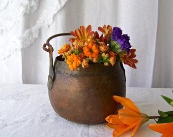 Antique Copper Decorative Pot Primitive Copper Vessel Kitchen Copper Home Decor Rustic Kitchen 1800s