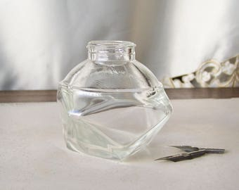 Vintage Ink Bottle Japan Polygon Shaped Clear Glass 1960s