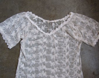Vtg 90s White Floral Lace Mesh Embroidered Stretch Top Peasant Short Sleeve Size Small Medium