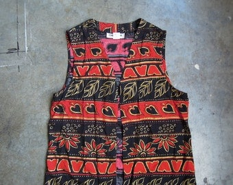 Vtg Gold Red Print Rayon Vest Blouse Hearts Pattern 90's Small Medium or Large