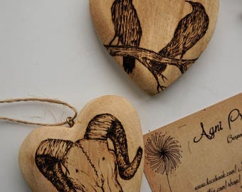 Macabre Household Decorations Pyrography Heart Decoration Crow Art Octopus Artwork Alternative Home