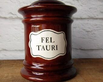 Vintage Apothecary Jar FEL TAURI