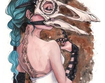 Gallimimus Dinosaur Steampunk skull mask watercolor art print Carla Wyzgala carlations