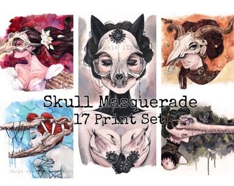 Complete Carlations Skull Masquerade watercolor 17 art print set by Carla Wyzgala