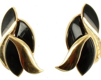 """Vintage Pair of Elegant 14K Gold Marquise Shaped Black Onyx Post Earrings 1.5"""""""