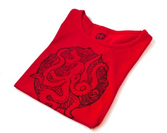 Cotton TEE printed with original hand-carved stamps with OCTOPUS- size MEDIUM
