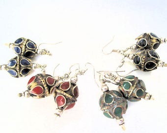 Vintage Dangle Earrings, Silver Plated with Inlaid Onyx, Aventurine, Coral, and Lapis Lazuli Chips-4 Pairs
