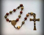Auto Rosary, Single Decade Rosary, Pocket Rosary, Saint Benedict - Bronze Crucifix