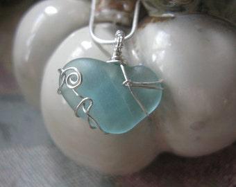 Aqua Heart Shaped Beach Glass Necklace