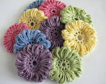 Crochet Thread Flowers - 10 Large Flower Appliques - All Cotton
