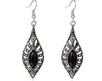 Silver/Black Dangle Earrings