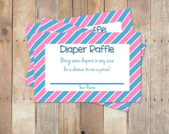 Pink and Blue Diaper Raffle Ticket Baby Shower Game for Boy/Girl Twins