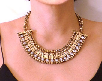 Grungy Egyptian Rhinestone Punk 80s Evening Chunky Party Luxury Statement  Large Diamond Choker Necklace Woman Jewelry Accessory Hollywood