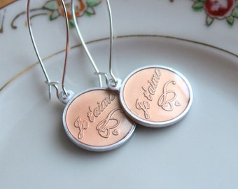 French Love Earrings - Cute Vintage Peach Dangles - Je t'aime - Made in France